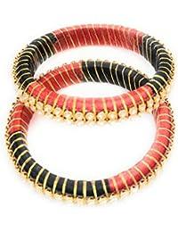 PG LOOKS Black And Red Silk Thread Bangle Set