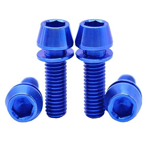 [4Pack] MCTI MTB Fahrrad Vorbau titan Ti 6AL/4V GR5Waschmaschine Schrauben M6x 20Inbus hex Schlüssel konisch Head Schrauben, blau