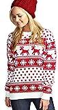 Femmes Reindeer Snowflake Kids Xmas Mère Fille Fils Noël 3-13 ans Jumper Taille supérieure 8-26