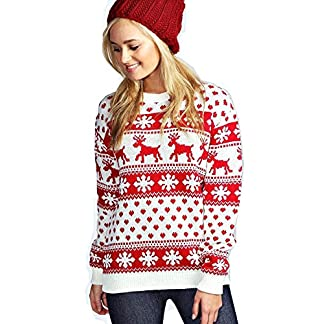 Mujeres Reindeer Snowflake Niños Navidad Madre Hija Hija Navidad 3-13 Año Jumper Tamaño Superior 36-52
