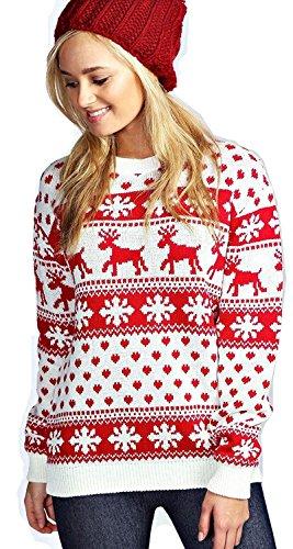 Mujeres Reindeer Snowflake Niños Navidad Madre Hija Hija Navidad 3-13 Año Jumper Tamaño Superior 36-52 (XL (EU 44-46), Crema)