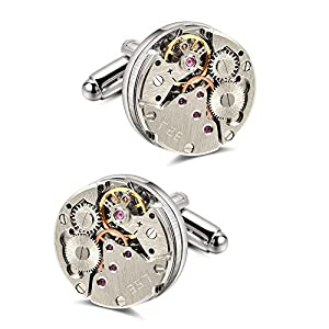 Manschettenknöpfe Herren, Anfly Steampunk Uhrwerk Uhr Bewegung Cufflinks für geschäftliche Anlässe Hochzeit