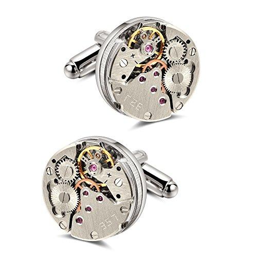 Mr Van Manschettenknöpfe Herren, Steampunk Uhrwerk Uhr Bewegung Cufflinks für geschäftliche Anlässe Hochzeit