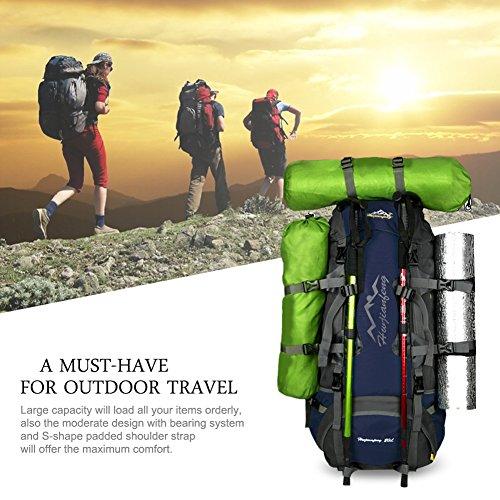 Imagen de vbiger  de 80l impermeable con cubierta de lluvia para viajes senderismo de alpinismo azul  alternativa