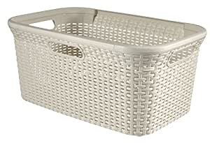 Curver Style Rectangle Laundry Basket, Plastic, White, 45 Litre