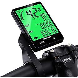 SGODDE Ordinateur de Vélo sans Fil, Compteur de Vitesse Vélo sans Fil Étanche Grand Écran LCD Rétroéclairé avec Compteur de Distance, Réveil Automatique, Capteur de Mouvement et Support & Accessoire