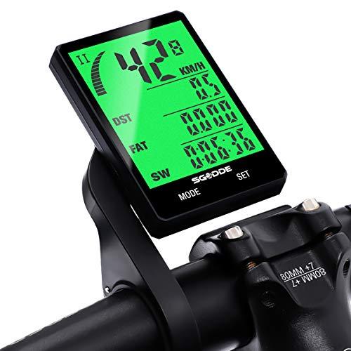 Bicicleta Cuentakilómetros Cableado, SGODDE Impermeable LCD Pantalla de 2,8 Pulgadas...