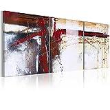 murando handgemalte Bilder 120x50cm Gemälde 3 tlg weiß rot beige 93253