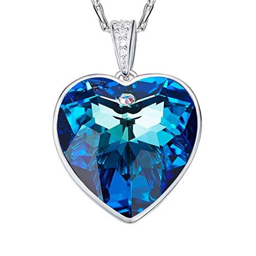 RJewellery Collar De Plata Esterlina Con Cristal Swarovski De Zafiro Azul (CORAZÓN)
