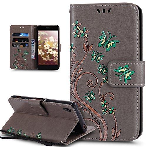 Coque Sony Xperia Z5,Etui Sony Xperia Z5,Peint coloré Embosser Papillon fleur Housse Cuir PU Etui Housse en Cuir Portefeuille de Protection Flip Case Portefeuille Etui Coque pour Sony Xperia Z5,Gris