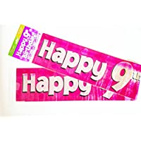 Happy 9th Birthday Banner Age Girl Pink Holographic Wall Kids Party Decorations