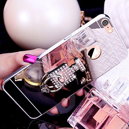 Custodia iPhone 7, iPhone 8 Cover Glitter Specchio, SainCat Custodia in Hard Plastic e Metallo Protettiva Cover per iPhone 7/8, Bling Glitter Sparkles 3D Lusso Rhinestones Strass Diamante Ultra Slim H Argento #3