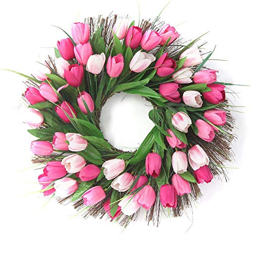 Tür-blumen-fall (HUVE Tulip Kranz Tür Kranz Floral Zweig Tür Kranz Frühling Kranz für Haustür Wand Home Hochzeit saisonale Dekor)