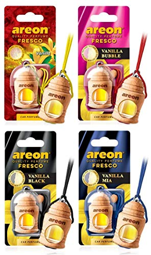 AREON Fresco Auto Duft Vanille Mix Autoduft Flasche Glas Duftflakon Parfüm Flakon Holz Luft Aufhängen Hängend Anhänger Spiegel 4ml 3D (Pack x 4)