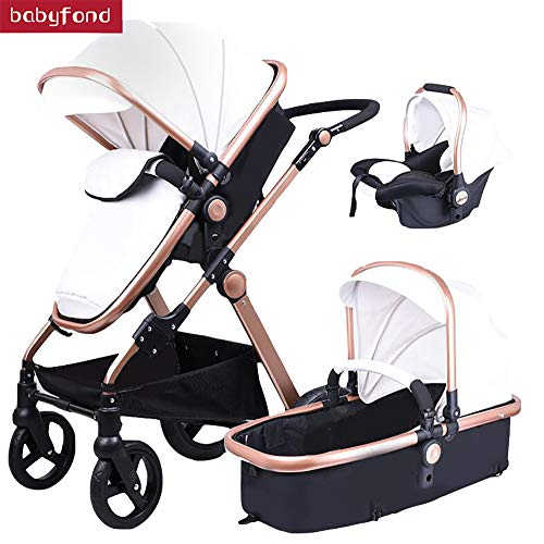 Babyfond 3 in 1 Baby Stroller travel system Baby Carriage with Separate Carrycot,Car Seat Bassinet,PU Leather High Landscape Foldable Pushchair Pram for Newborn (White)