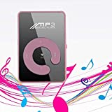 Murieo Mini MP3-Player, Portable Media Music Player, Sport USB Micro SD TF Mirror C Button MP3 Music Media Player (Pink)