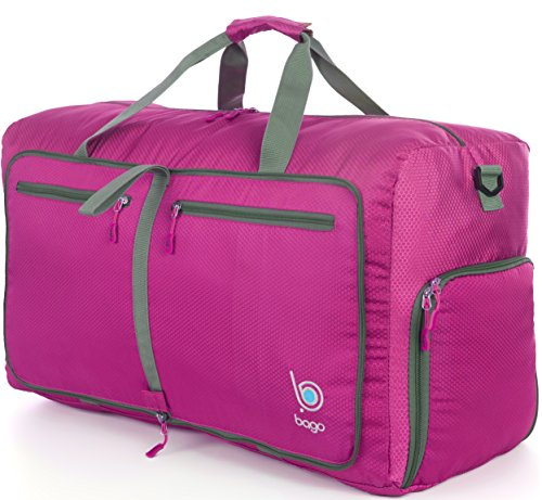 Bago Duffle Bag For Travel Luggage Gym Sport Camping - Lightweight Foldable Into Itself Duffel 22'' (Large 27'', Pink)