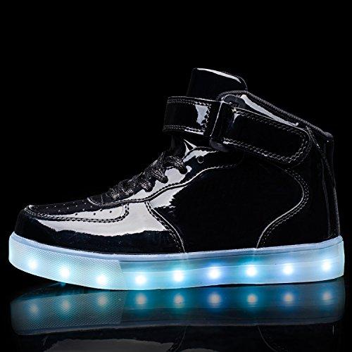 TULUO Haut-dessus chargement USB LED chaussures clignotant chaussures de sport pour les Enfants et adultes MetallicBlack