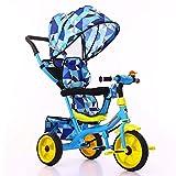 SSRS Kinder Trike, Kinderwagen Dreirad Ab 1 Jahr Mit Lenkbarer Schubstange, FlüSterleise Gummireifen Und Sonnendach,1-5 Jahre Geeignet Belastbarkeit bis 30 kg, Color
