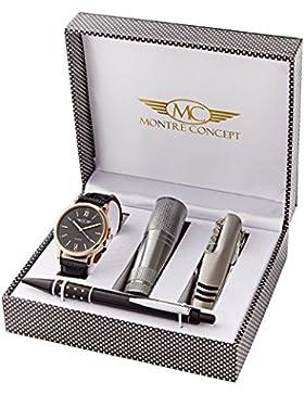 Montre-Concept - Geschenk-Set Männer uhr mit taschenlampe, multifunktions-messer und kugelschreiber : CCL-1-0066