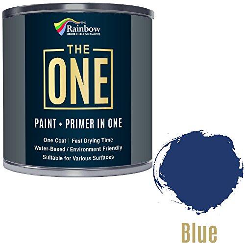Una pintura, una capa, Multi superficie pintura para madera, metal, plástico, interior, exterior, azul mate, 250ml