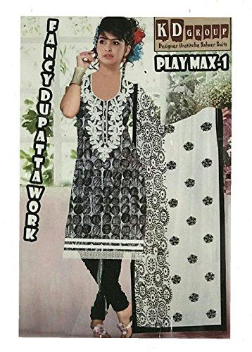 K.D.Group Cotton Salwar Kameez Dupatta Indian Dress Material in Black White &...