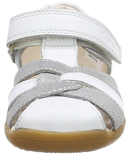 Clarks  Softly Mae Fst, Baskets premiers pas mixte bébé Blanc (White Combi Lea)