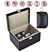 Car Key Signal Blocker Box - Faraday Box for Car Keys Fob Phones Cards, Call & RFID Signal Blocking Case Car Key Safe Box, Keyless Cars Security Anti Theft Large Storage Box Faraday Pouch Included