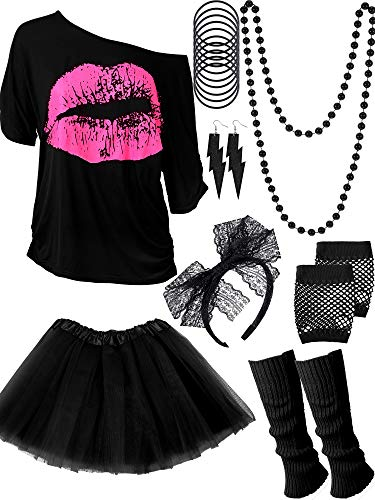 Women's Black 80s Skirt, Top and Accessories Set