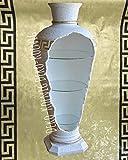 Barvitrine Bar Vitrine Amphore Medusa Vase mit Licht Mäander Bodenvase Glasregal SIDEBOARD VITRINE Gold /// 6851 K108 Regal mit Styl TOP ANGEBOT
