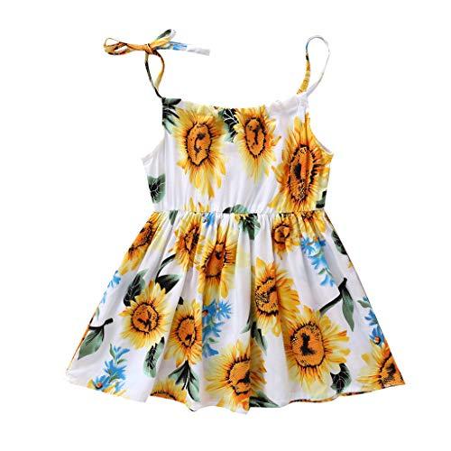 Koojawind MäDchen Prinzessin Floral Sunflower Beach Party LäSsige Kleidung-Ideal FüR LäSsig, TäGlich Oder Fotoshooting, Sommer Unterwegs Tiered Floral Print Rock