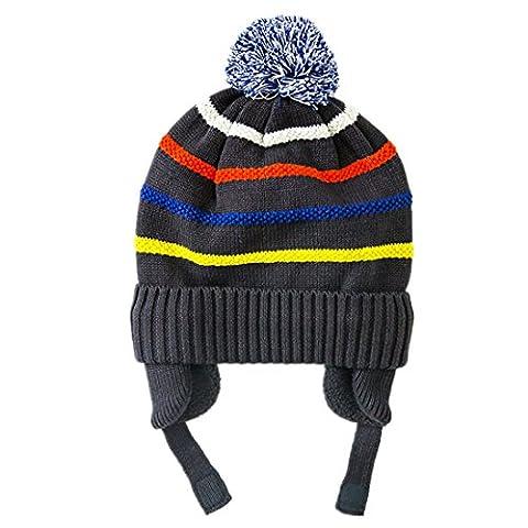 DecentronJungen Kinder gestreifte Strickmütze Beanie Mütze mit Ohrklappe warm Winter Kappe (Earflap Knit Cap)