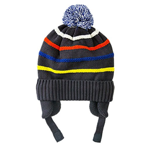 DecentronJungen Kinder gestreifte Strickmütze Beanie Mütze mit Ohrklappe warm Winter Kappe Wintermütze