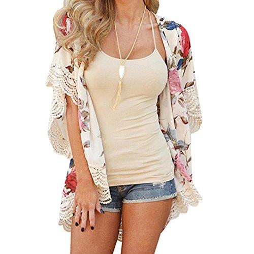 Strickjacke damen Kolylong® Frauen Mode Spitze Blumen gedruckte Strickjacke Sommer Kimono Plus Size Shawl Bluse (XL, Beige) (Strickjacke Schwarz-plus-offene)