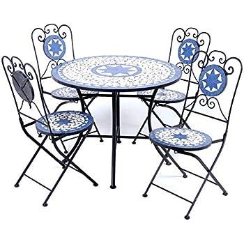 74fde800393e Outdoor Specials Mosaic 4 Seater Metal Bistro Furniture Set for Garden Patio  Terrace