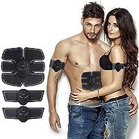 JHion Electrostimulateur Musculaire, EMS Ceinture Abdominale USB, Musculaire Entraînement Abdominal/Cuisse/Bras Muscle EMS Forme d'exercice Fitness Charge/Batterie(Homme/Femme)