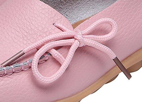 Zapatos De Cuero Para Mujer En Piel Zapatos Planos Ocasionales En Zapatilla De Deporte En Mocasines Rosas