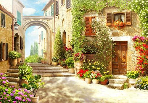 Fototapete Strasse italienische Stadt Italien Gasse Blumen Blüten Blumentopf Häuser Steinweg S 200 x 140cm - 4 Teile Vlies Tapete Wandtapete - Moderne Vliestapete - Wandbilder - Design Wanddeko -