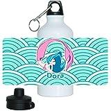 Trinkflasche mit Namen Dora und schönem Motiv mit Meerjungfrau in türkis für Mädchen | Aluminium-Trinkflasche