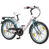 Galano 20 Zoll Kinderfahrrad Blossom LE Mädchenrad Jugendrad Cityrad, Farbe:Weiss/Grün
