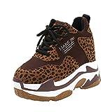 Damen Laufschuhe Klassisch Schnürschuhe Mode Plateau Sneaker Freizeit Flock für Frauen mit Rundhalsausschnitt und Leopardenprint mit dicken unteren Turnschuhen ABsoar