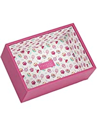 STACKERS 'JUNIOR' Pink Deep Open Section STACKER Jewelry Box with Cupcake Lining