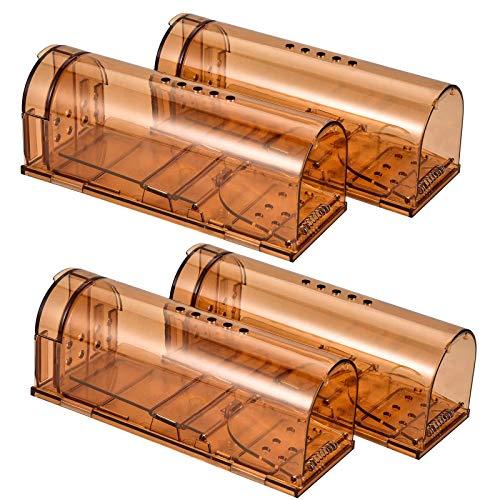 Wakana Trampa para Ratones 4 Pcs Ratonera Ratas Vivos Trampa para Ratas Ratonera de Plástico Reutilizable con Diseño de Cola Anti-Roto y Agujeros de Aire para Cocina Jardín Hogar Cocina Ático Garaje