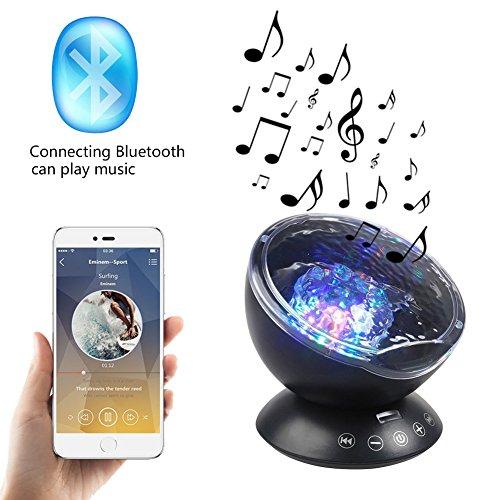 Ozeanwellen Projektor Lampe LED Licht mit Eingebautem Mini Musik Player Nachtlichter für Kinder Baby Schlafzimmer Wohnzimmer 12 LED Beads Pusheng
