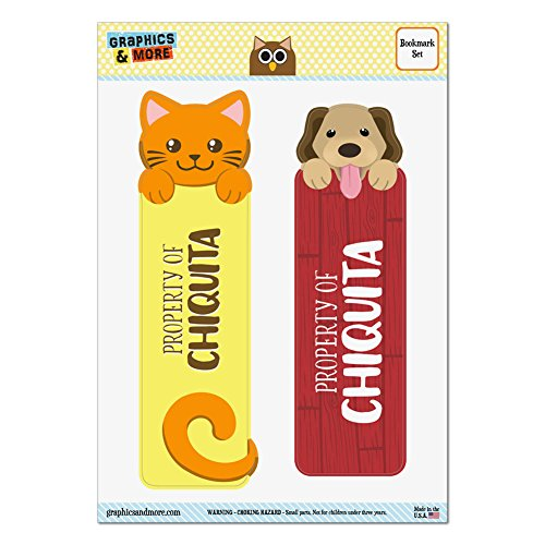 set-of-2-glossy-laminated-cat-and-dog-bookmarks-names-female-che-cl-chiquita