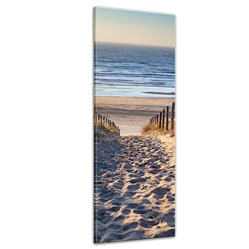 Keilrahmenbild - Schöner Weg zum Strand III - Bild auf Leinwand - 40x120 cm einteilig - Leinwandbilder - Urlaub, Sonne & Meer - Nordsee - Dünen mit Strandgräsern - Idylle - Erholung