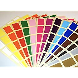 20 x 30 mm rectangular – varios paquetes de pegatinas rectangulares de código de color/etiquetas adhesivas de colores/lunares