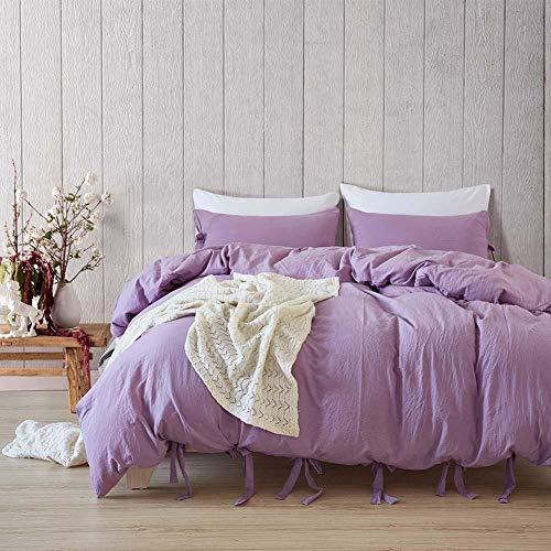 Anmou Bettwäsche-Set Einfarbiges Bettwäscheset - Bettbezug Aus Gebürsteter Mikrofaser Mit Kissenbezügen In Lila@König: Kissenbezug: 51 * 92 * 2 Bettbezug: 264 * 229 * 1