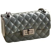 65c72f2ac9448 Young   Ming Mini PU Leder Damen Handtasche Schultertaschen Designer Ketten  Tasche mit Steppmuster und Kettenhenkel