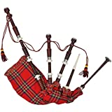 vidaXL Cornamusa scozzese Great Highland rosso reale Steward Tartan set completo